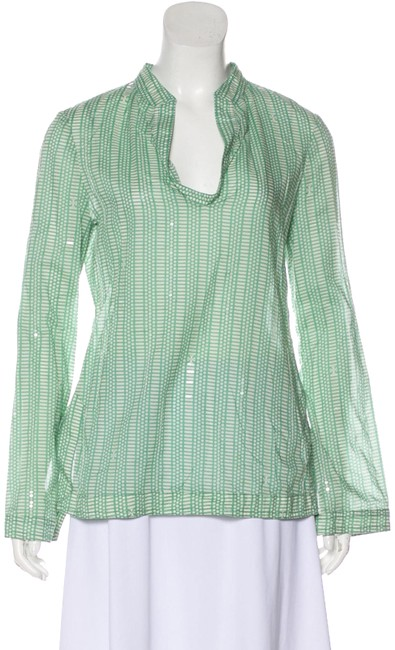 Item - Green White Print Cotton Sequin Long Sleeve Tunic Blouse Size 4 (S)