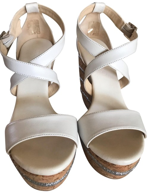 Item - White Portia 120 Style Platform Ankle Strap with Adjustable Buckle. Metallic Silver Striped Cork Wedge.rubber Sole. Bag Wedges Size EU 35.5 (Approx. US 5.5) Regular (M, B)
