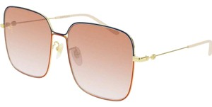 3153073b2 Gucci NEW Gucci GG0443S Red Blue Square Pink Lens Sunglasses