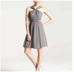 Ann Taylor Grey Silk Georgette Keyhole Halter Traditional Bridesmaid/Mob Dress Size Petite 2 (XS)