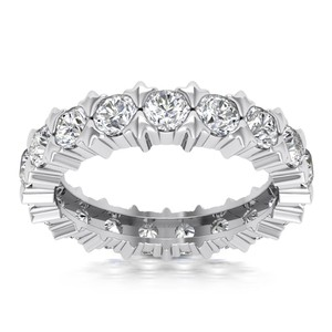 Natural Diamonds of NYC White 2.18 Ct Ladies Round Cut Eternity Ring In 14 Kt Women's Wedding Band