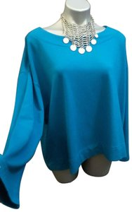 Bryn Walker Organic Bamboo Kingfisher Spa Shirt Top Turquoise Teal Blue
