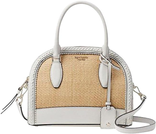 Item - Riley Bright White Straw and Leather Beach Bag