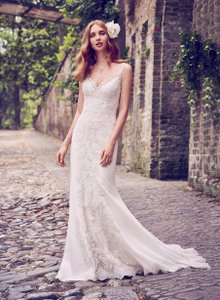 620b1461d79 Maggie Sottero Ivory  Pewter Accent Lace Tulle and Donella Crepe Kiandra  Modern Wedding Dress Size