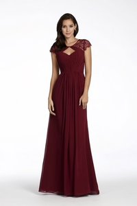 Hayley Paige Burgundy Chiffon and Lace 5709 Feminine Bridesmaid/Mob Dress Size 16 (XL, Plus 0x)