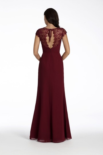 Hayley Paige Burgundy Chiffon and Lace 5709 Feminine Bridesmaid/Mob Dress Size 16 (XL, Plus 0x) Image 1