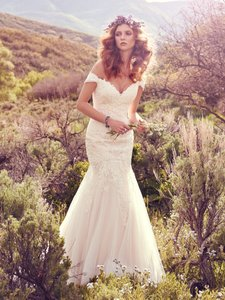Maggie Sottero Ivory Lace Tulle Afton Sexy Wedding Dress Size 12 (L)