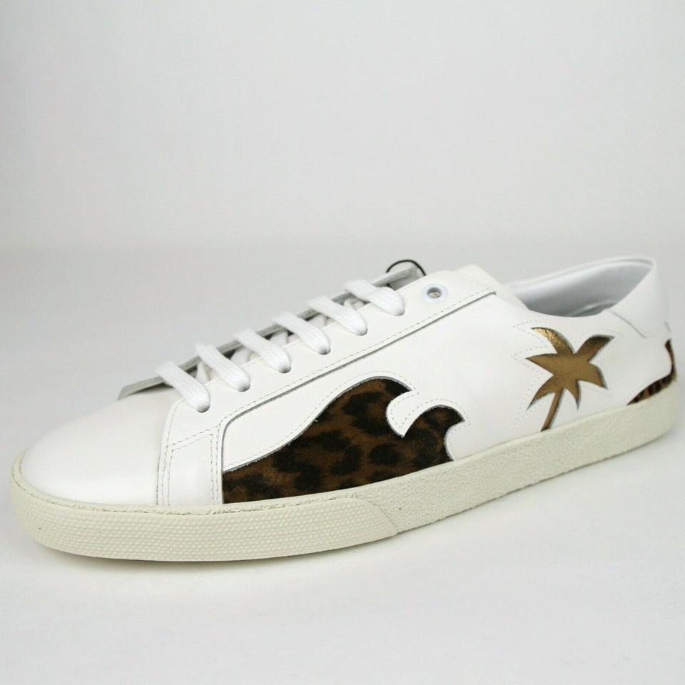 watch 6a46a 0e6b1 Saint Laurent Off White Leather Classic Palm Tree Sneaker 43/Us 10 441952  9053 Shoes 58% off retail