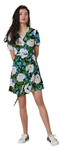 Diane von Furstenberg short dress Floral Green V-neck Crepe on Tradesy