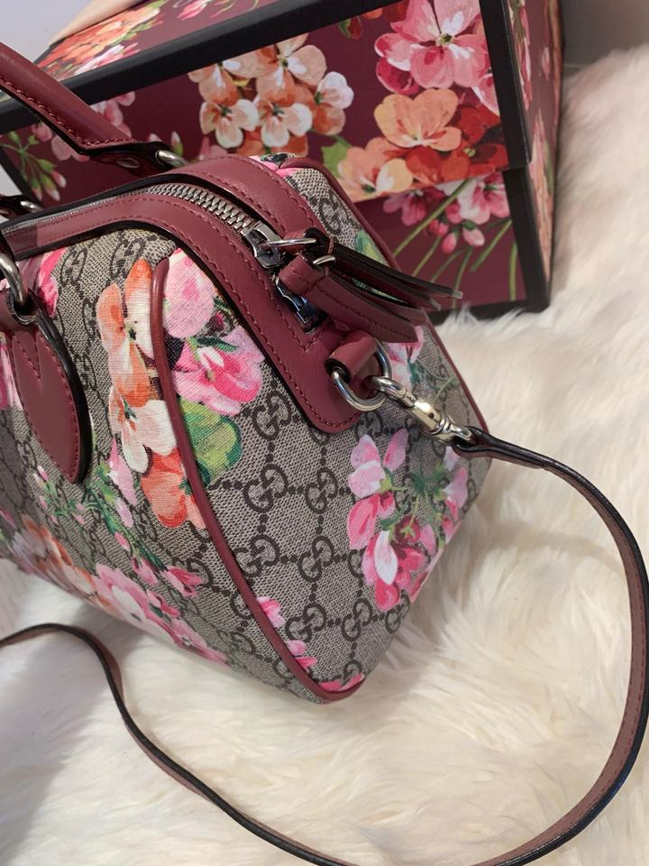 55a18405c7983b Gucci Boston Gg Blooms Supreme Top Handle Pink Canvas Satchel - Tradesy