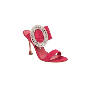 Manolo Blahnik Open Toe Crystal Leather Pump Pink Mules