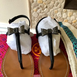 Tory Burch Bryn Black Pave Bow Sandals