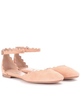 Chloé Suede Scalloped Leather Outsole Camel Flats