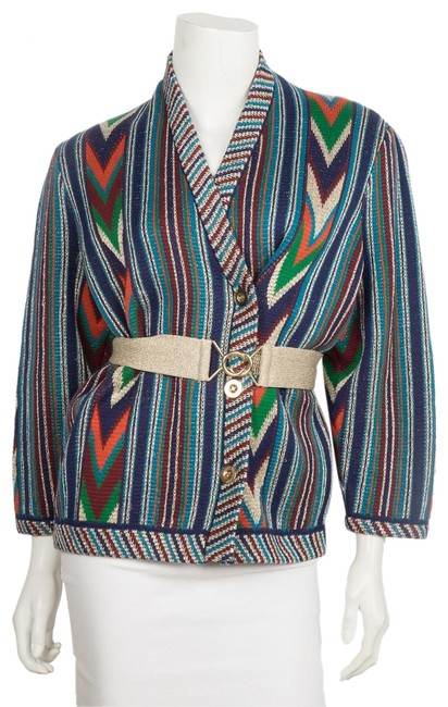Item - Blue Chevron Knit Small Jacket Size 6 (S)