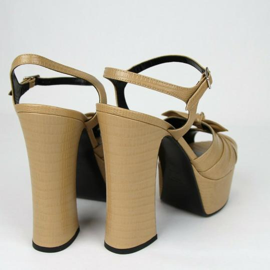 Saint Laurent Leather Candy 80 Bow Dark Nude Platforms Image 4
