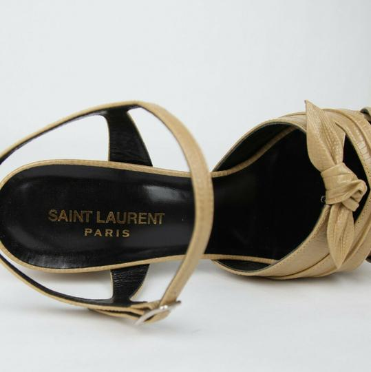 Saint Laurent Leather Candy 80 Bow Dark Nude Platforms Image 7