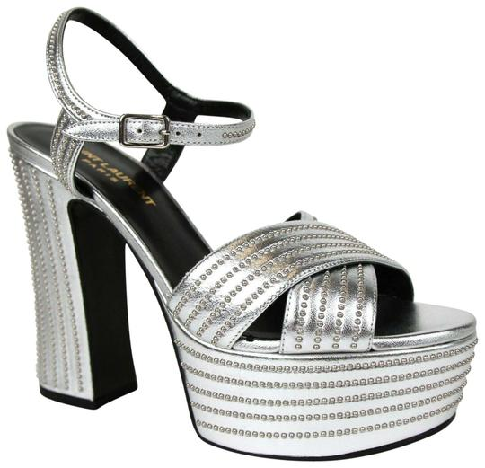 Saint Laurent Candy Leather Studded Silver Platforms Image 0
