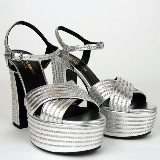 Saint Laurent Candy Leather Studded Silver Platforms Image 3