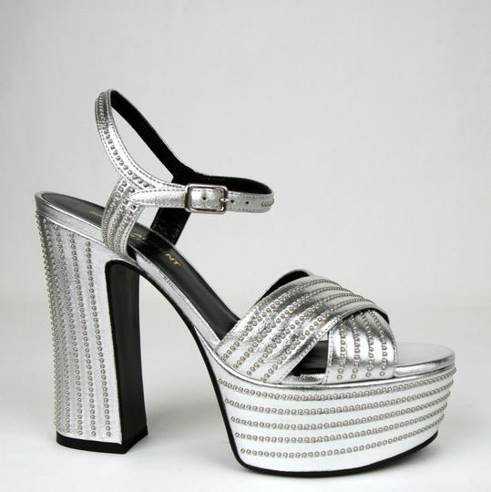 Saint Laurent Candy Leather Studded Silver Platforms Image 5