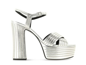 Saint Laurent Candy Leather Studded Silver Sandals