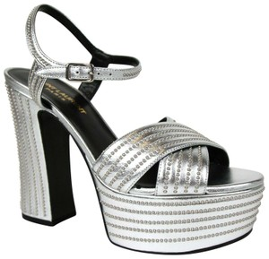 Saint Laurent Candy Leather Studded Silver Platforms