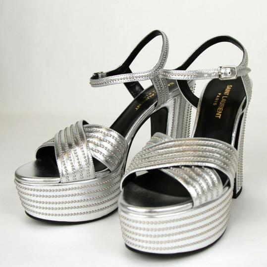 Saint Laurent Candy Leather Studded Silver Platforms Image 1
