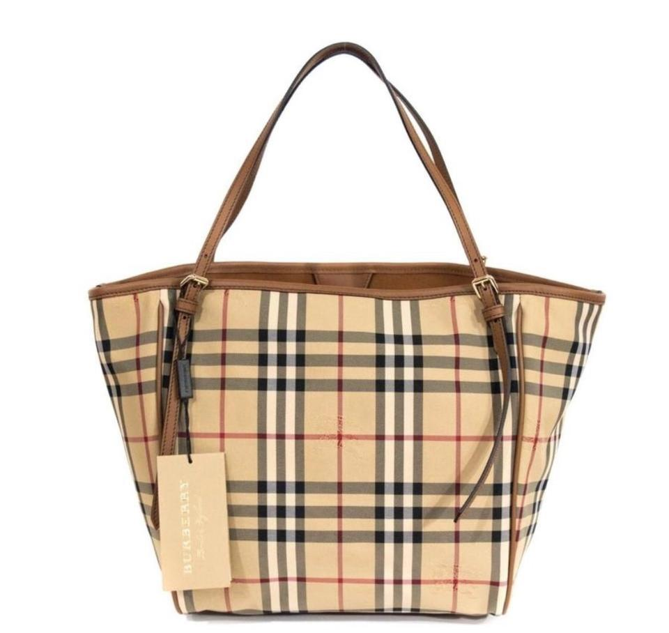 c7cb9d8afdd Burberry Horseferry Check Canterbury Tan Leather/Canvas Tote - Tradesy
