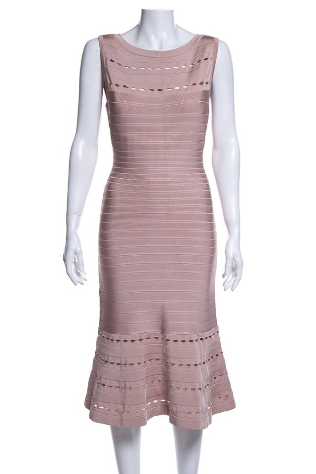 ce74c096d6d84 Hervé Leger Blush Knee-length Short Night Out Dress Size 12 (L ...
