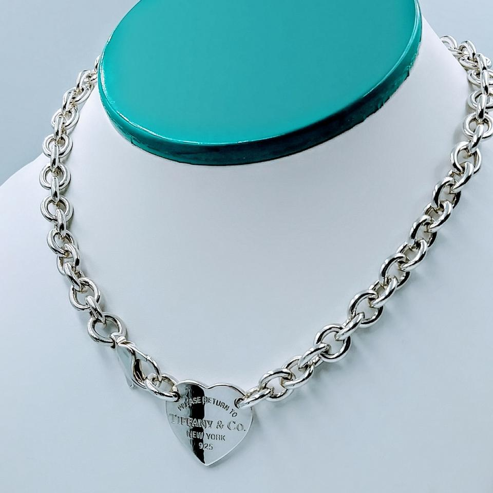 645e4bfc2 Tiffany & Co. Please Return Heart Tag Choker Necklace Sterling Silver Image  0 ...