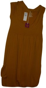 Poof short dress Mustard yellow gold Stretchy Jersey Cotton Sleeveless Ruched on Tradesy