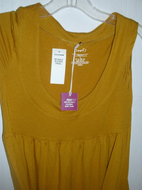 Poof short dress Mustard yellow gold Stretchy Jersey Cotton Sleeveless Ruched on Tradesy Image 1