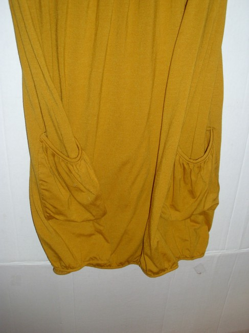 Poof short dress Mustard yellow gold Stretchy Jersey Cotton Sleeveless Ruched on Tradesy Image 2