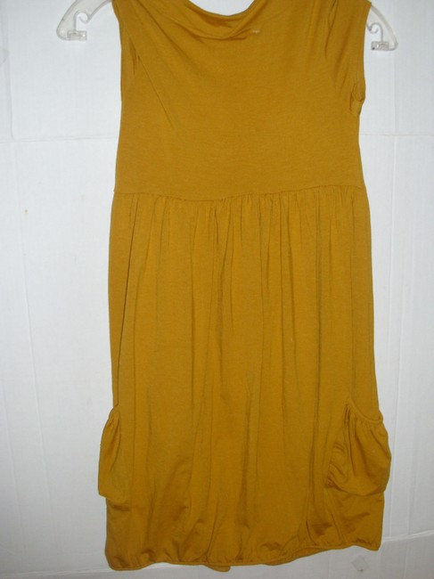 Poof short dress Mustard yellow gold Stretchy Jersey Cotton Sleeveless Ruched on Tradesy Image 3