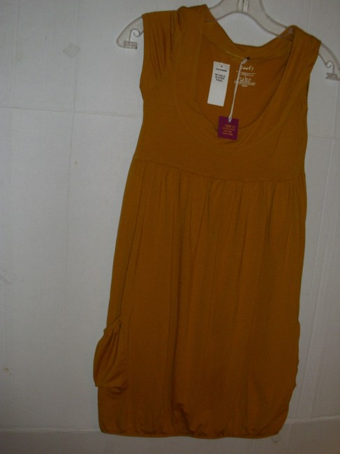 Poof short dress Mustard yellow gold Stretchy Jersey Cotton Sleeveless Ruched on Tradesy Image 4