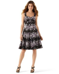 19fedc2f3302 White House | Black Market short dress Black Purple Floral A-line Sundress  Sweetheart Pompom