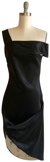 Item - Black 2008 Asymmetrical Drape Mid-length Cocktail Dress Size 4 (S)