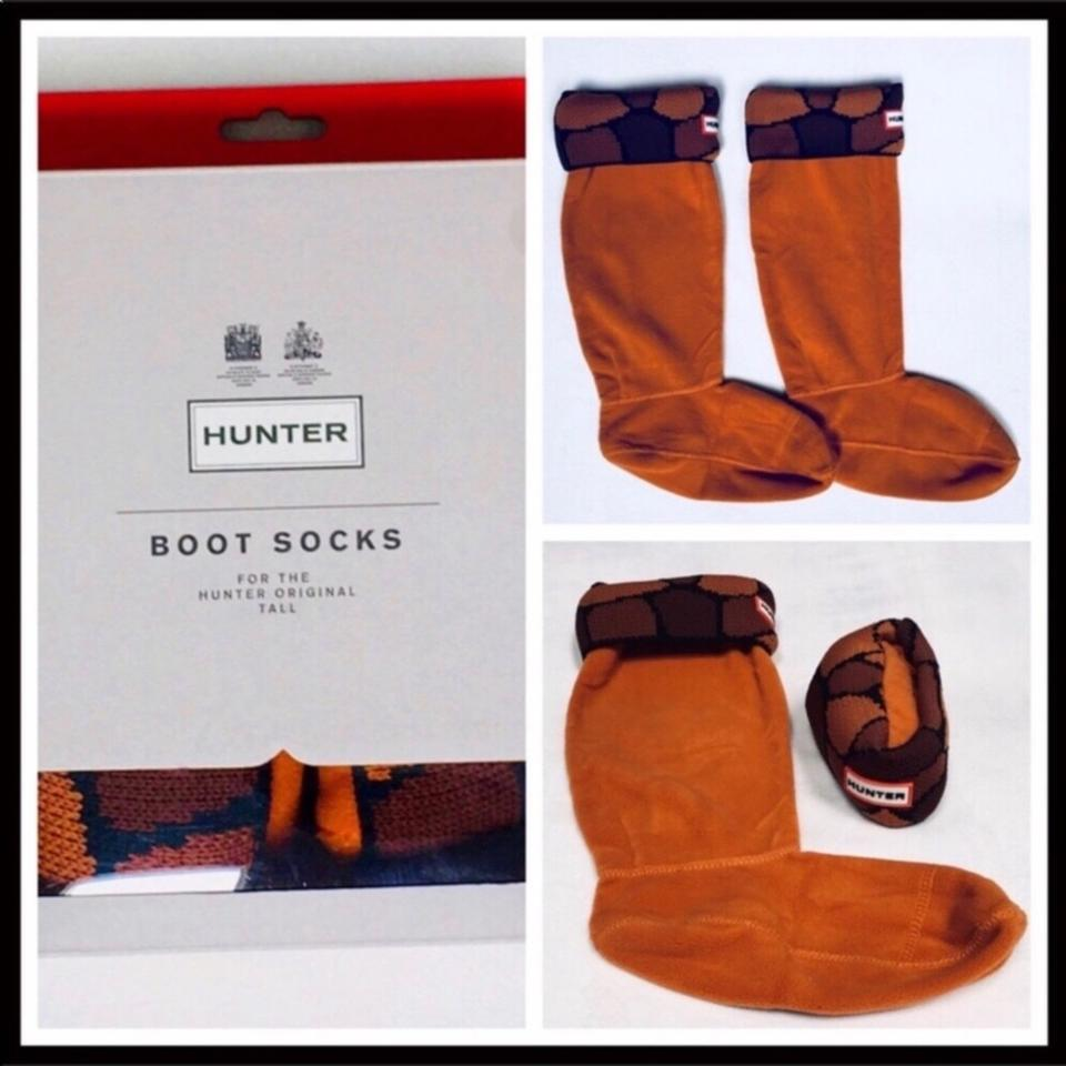 utterly stylish official images info for Hunter Rust Orange Brown Tall Cuffed Welly Socks Boots/Booties Size US 7  Regular (M, B)
