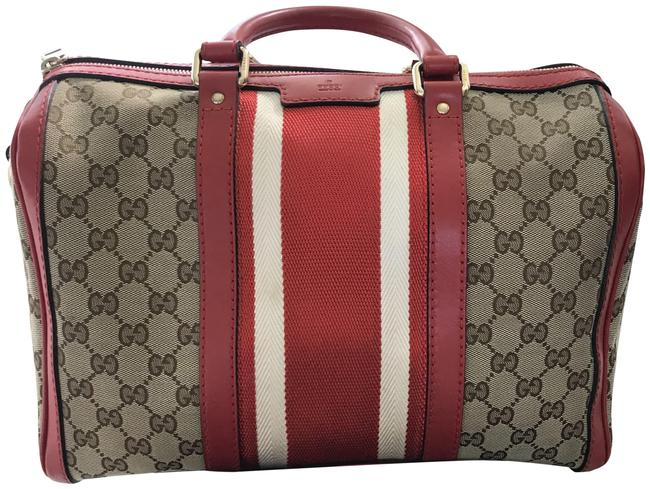 Item - Boston Red Gg Canvas and Leather Web Satchel