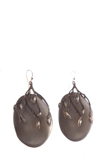 Alexis Bittar Alexis Bittar Grey Branch & Crystal Detail Earrings Image 1