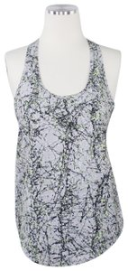 Zella Grey Paint Graphic Print Tech Low Scoop Neck Racerback Tank Top S