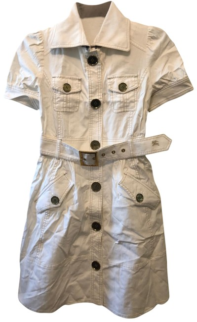 Item - White Collared Button-up Mid-length Short Casual Dress Size 4 (S)