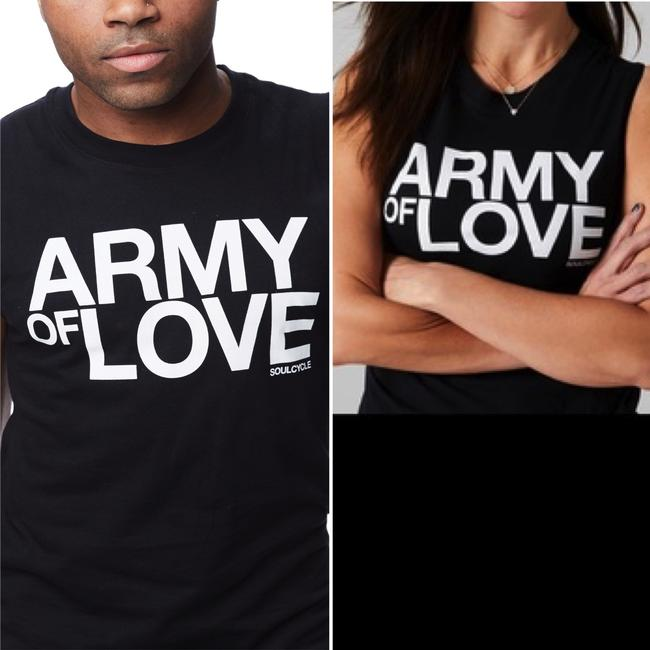 SoulCycle SoulCycle Graphic Print Crew Neck Muscle Black Army of Love Tank Top S Image 1