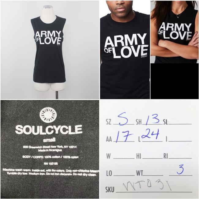 SoulCycle SoulCycle Graphic Print Crew Neck Muscle Black Army of Love Tank Top S Image 11