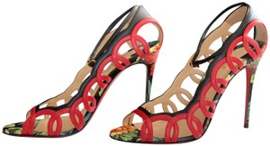 Christian Louboutin Valentino Rockstud Ankle Strap Peep Toe Red Back Multi Sandals