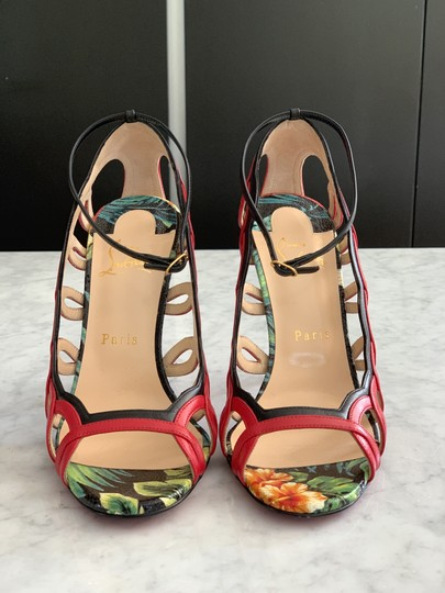 Christian Louboutin Valentino Rockstud Ankle Strap Peep Toe Red Back Multi Sandals Image 1