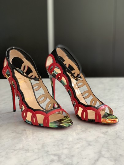 Christian Louboutin Valentino Rockstud Ankle Strap Peep Toe Red Back Multi Sandals Image 2