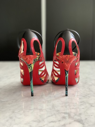 Christian Louboutin Valentino Rockstud Ankle Strap Peep Toe Red Back Multi Sandals Image 5
