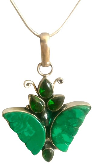 Preload https://img-static.tradesy.com/item/25411932/green-natural-emerald-stones-in-10k-white-gold-setting-butterfly-pendant-with-925-sterling-silver-ch-0-1-540-540.jpg