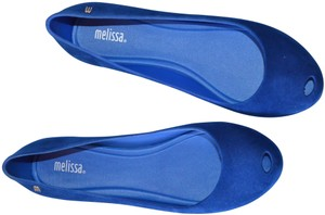 Melissa Plastic Open Toe Casual Royal Blue Flats
