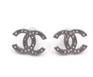 Chanel Chanel Gunmetal CC Crystal Star Pattern Piercing Earrings